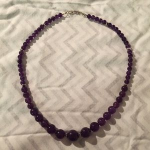 Purple Stone Round Beaded Necklace Sterling Silver